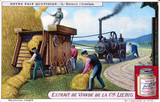 """Mechanical threshing machine, Liebig trade card, c 1910-1920."""