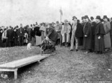 Lord Abinger cutting the first sod of the