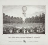 'Flight of the aeronaut Francesco Orlandi', 1839.