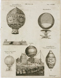 Examples of hot-air balloons used in famous ascents, 18th-19th century.