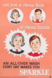 'Not just a clean face or clean hands', public health poster, 1950s