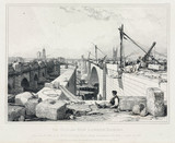 Construction of the new London Bridge, 1830.