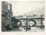 Old London Bridge and the Southwark bank of the Thames, 1831.