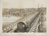 'High Bridge during Construction of the Large Main', New York City, 1860.