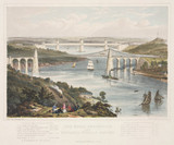 'The Menai Suspension and Britannia Tubular Bridges', Wales, c 1855.