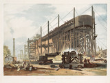 The 'Great Eastern' being built, Millwall, London, 1830s.