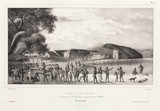 Papuans preparing for combat, Dorey village, Papua New Guinea, 1826-1829.