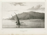 Sailing canoe, Solomon Islands, 1826-1829.