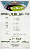 'Cricket - Fixtures at The Oval', BR(SR) poster, 1962.