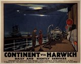 'Continent via Harwich - Daily and Nightly Services', LNER poster, 1923-1947.