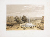 The fountain and park from the terrace steps of the Crystal Palace, c 1855.