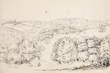 Pencil sketch of a building on a wooded hillside, South Atlantic, 1828-1831.