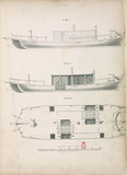 Proposed triple hulled paddle-wheeled boat, 1787.