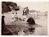 Two boys after a swim, Whitby Harbour, North Yorkshire, c 1905.