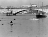 Amphibious car making its way up the Thames, London, 6 June 1965.