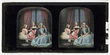 Stereo-daguerreotype of a woman and two children, 1855.