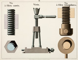 """Square thread screw, jack, and 'V' thread screw, 1856."""