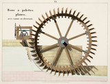 Waterwheel with flat paddles, and lock gate with overflow, 1856.