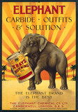 """'Elephant Carbide, Outfits & Solutions', poster, c 1930s."""