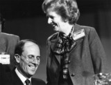Margaret Thatcher and Norman Tebbit, British politicians, 1985.