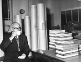 Ronald Marshbank guarding plans for Cunard Q4 liner, 9 September 1964.