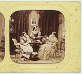 Four women sewing or reading, c 1860.