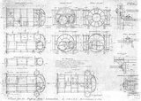 Blueprint drawing of components of the locomotive 'Puffing Billy', one of a set 57 (originally 63) prepared by the Central Railway Workshops, Bavaria.