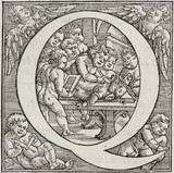 Cherubs carrying out vivisection on a pig, 1543.