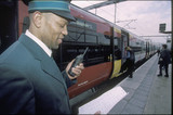 Guard at Leeds Station, 2001.