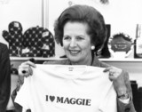Margaret Thatcher with 'I love Maggie' T-shirt, October 1987.