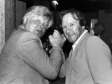 Benny Hill and Dennis Waterman, May 1986.