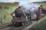 'Black Five' leaving Saxelby Tunnel with an express for Nottingham, c 1950.
