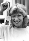 Shirley Strong with Olympic silver medal, August 1984.