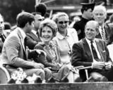 Nancy Reagan with the British royal family at a polo match, July 1981.