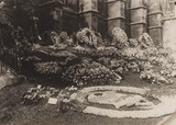 Wreaths outside a church, before 1941.