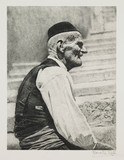 Elderly man seated on steps.;
