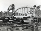 Brunel's Royal Albert Bridge under construction, Saltash, 1859.