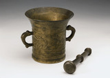 Bronze pestle and mortar, European, 18th century.