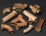 Nine glazed earthenware drainpipe models, 19th century.