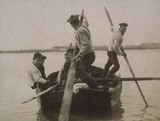Portrait group of fisherman in a boat, c 1900-1905.