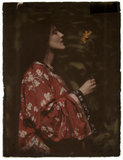 Lady in a kimono with a sunflower, 1908.