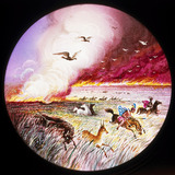 Prairie on fire, hand-coloured magic lantern slide, 19th century.