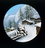 Winter scene in the mountains. Hand-coloure