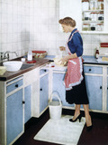 Advertisement featuring a housewife in apro