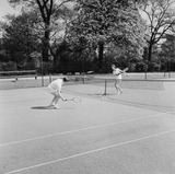 """A couple 'playing tennis', 1955."""