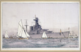 """HMS Hood, Portsmouth, SR carriage print, 1923-1936."""