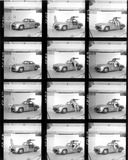 """Contact sheet of nude models with Mercedes wing-door car, c 1961. """