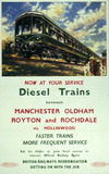 """'Now at you service - Diesel trains...', BR (LMR) poster, 1950. """