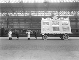 """Carnival display of posters, Blackpool Station, Lancashire, August 1924."""