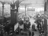"""Crowds at Manchester Victoria Station, 7 August 1927."""